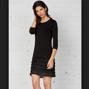 Bailey44 Black Stretchy Flamenco Fringe Dress NWOT